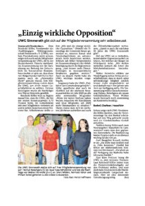UWG Simmerath Mitgliederversammlung 2018 Vorstand Presseartikel Aachener Zeitung Opposition Steckenborn